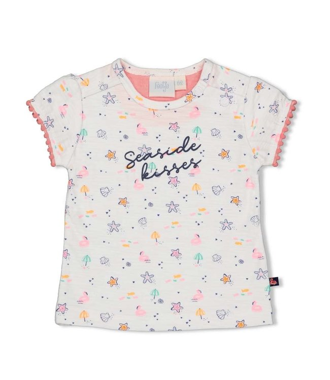 Feetje-baby T-shirt AOP - Seaside Kisses - Wit