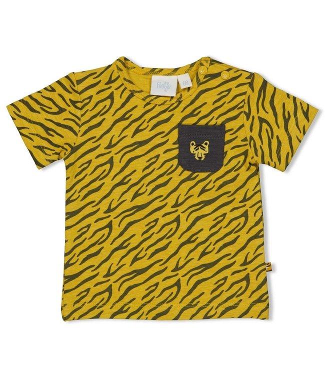 Feetje-baby T-shirt AOP - Go Wild - Okergeel melange