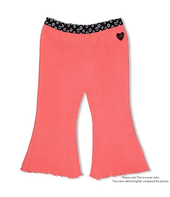 Feetje-baby Flare Pants - Leopard Love - Neon Koraal