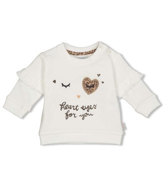 Feetje-baby Sweater - Panther Cutie - Offwhite