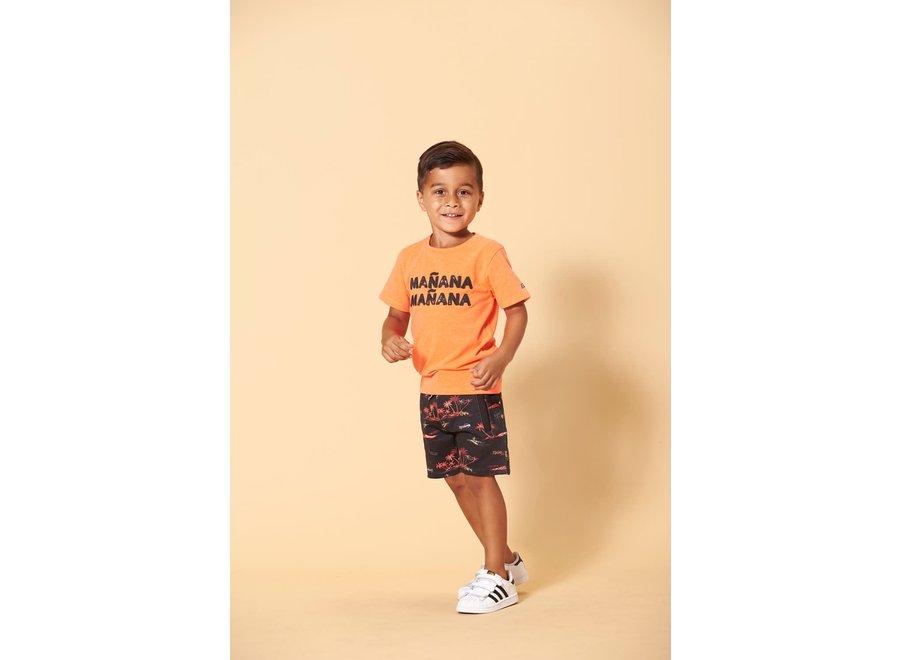 T-shirt - Happy Camper - Neon Koraal