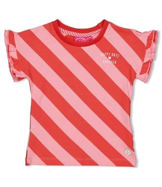 Jubel T-shirt streep diagonaal - Tutti Frutti - Koraal