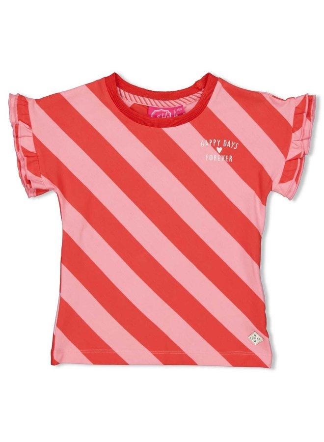 T-shirt streep diagonaal - Tutti Frutti - Koraal