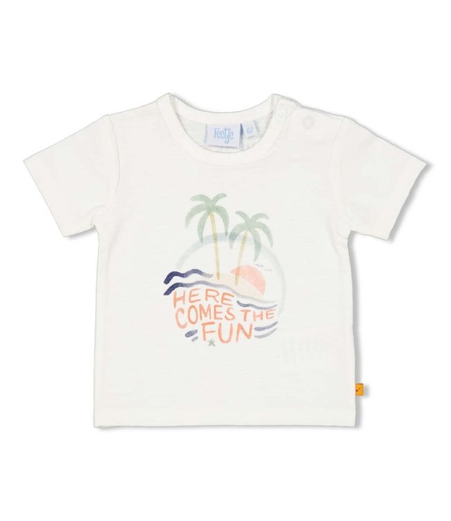 Feetje-baby T-shirt - Here Comes The Fun - Wit