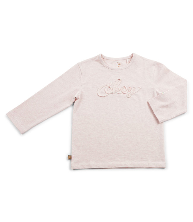 "Frogs and Dogs F&D NB Basic Shirt Okey Pink Melange "" Hearts """
