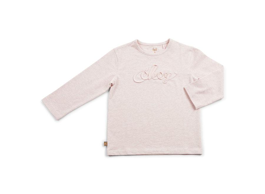 "F&D NB Basic Shirt Okey Pink Melange "" Hearts """