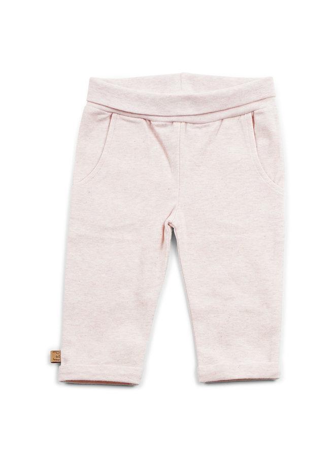"F&D NB Basic Pants Off White Melange "" Hearts """