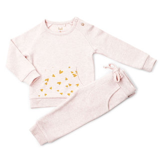 """Frogs and Dogs F&D NB Jogging Suit Pink Melange """" Hearts """""""