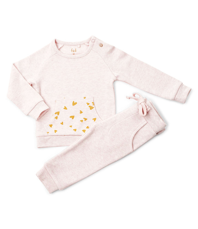 "Frogs and Dogs F&D NB Jogging Suit Pink Melange "" Hearts """