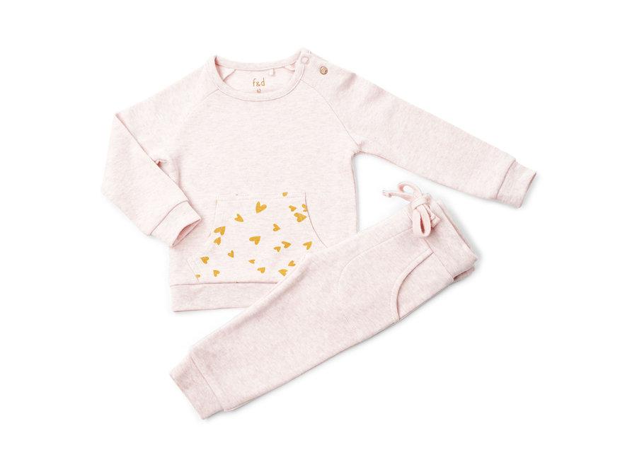 """F&D NB Jogging Suit Pink Melange """" Hearts """""""