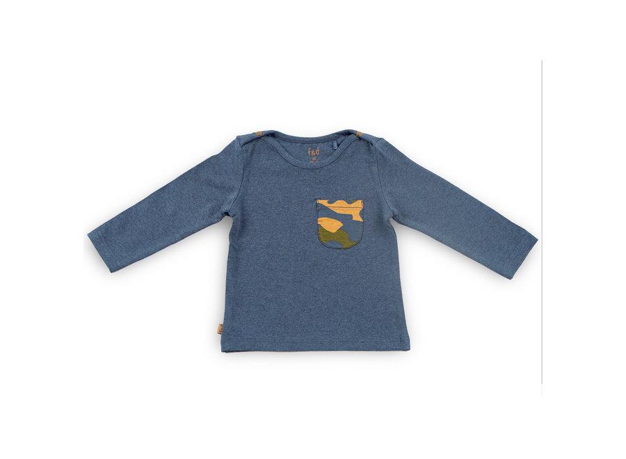 F&D NB Basic Shirt Camo Pocket Navy Melange