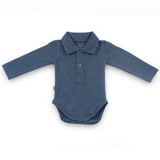 """Frogs and Dogs F&D NB Polo Romper Navy Melange """" Camo """""""