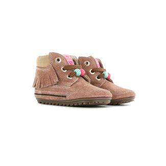 Shoesme Shoesme oud-roze babyschoen met franjes