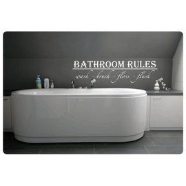 Muurteksten.nl Muurtekst Bathroom Rules