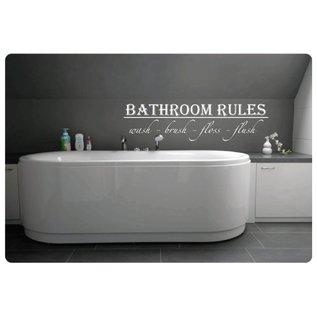 Muurteksten.nl Muurtekst Bathroom Rules