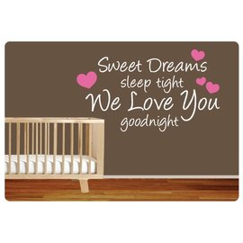 Muurteksten.nl Muurtekst Sweet dreams, hartjes