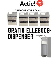 4x 5 Liter Handalcohol 80%+ Gratis Elleboog Dispenser