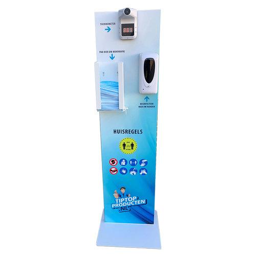 Desinfectiezuil met spray dispenser, thermometer en mondkapjeshouder