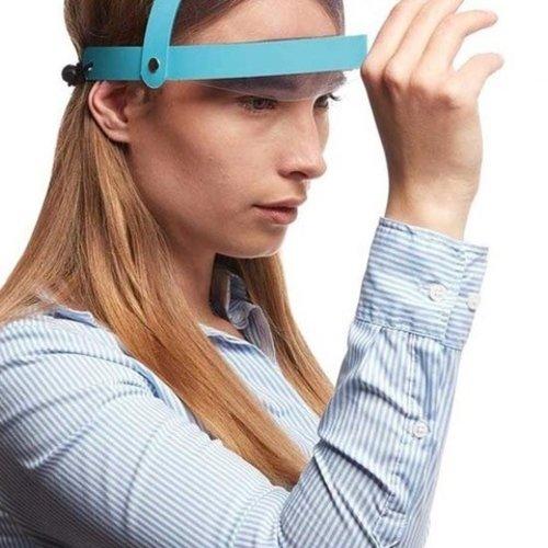 Blauwe opklapbare faceshield