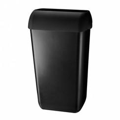 Afvalbak met open inworp klep zwart
