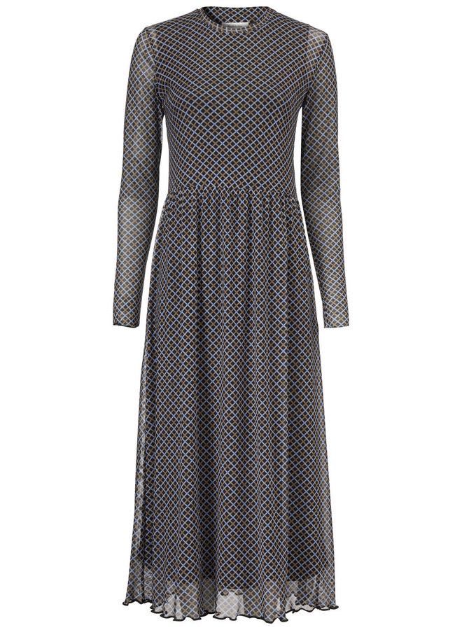 Fairy Print Dress | blue camel check | Maat L