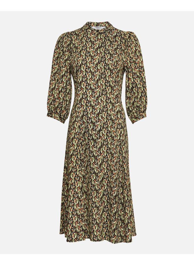 Karola Raye 3/4 Dress AOP | blk flower
