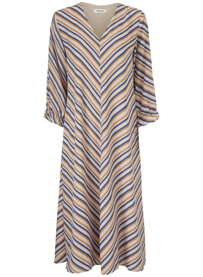 Clementine Print Ls Dress | faded dark stripe