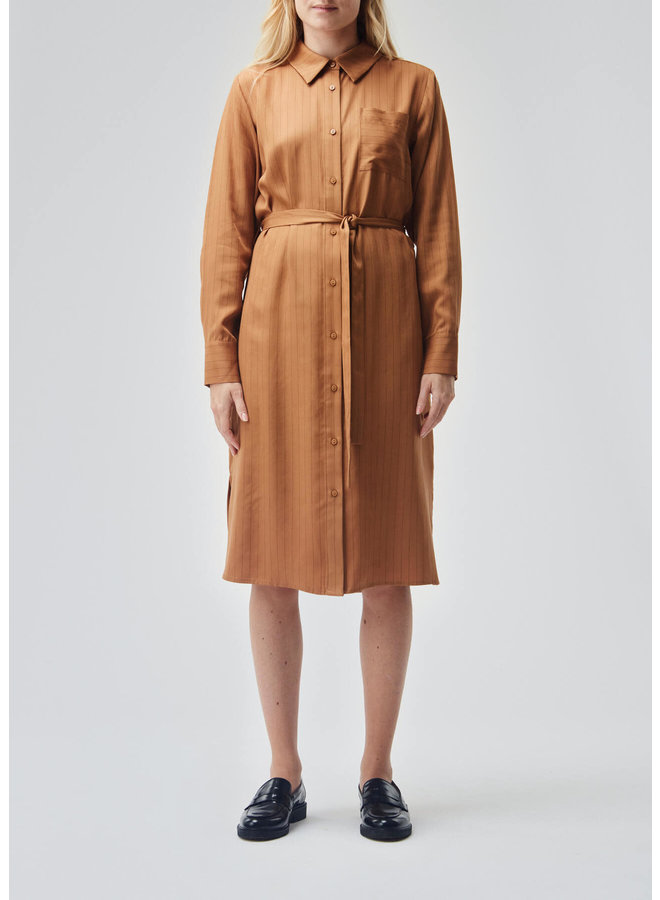 Holst Dress | brown oak stripe