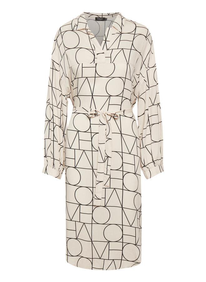 SLMontoya Tunic Dress LS | love print sandshell