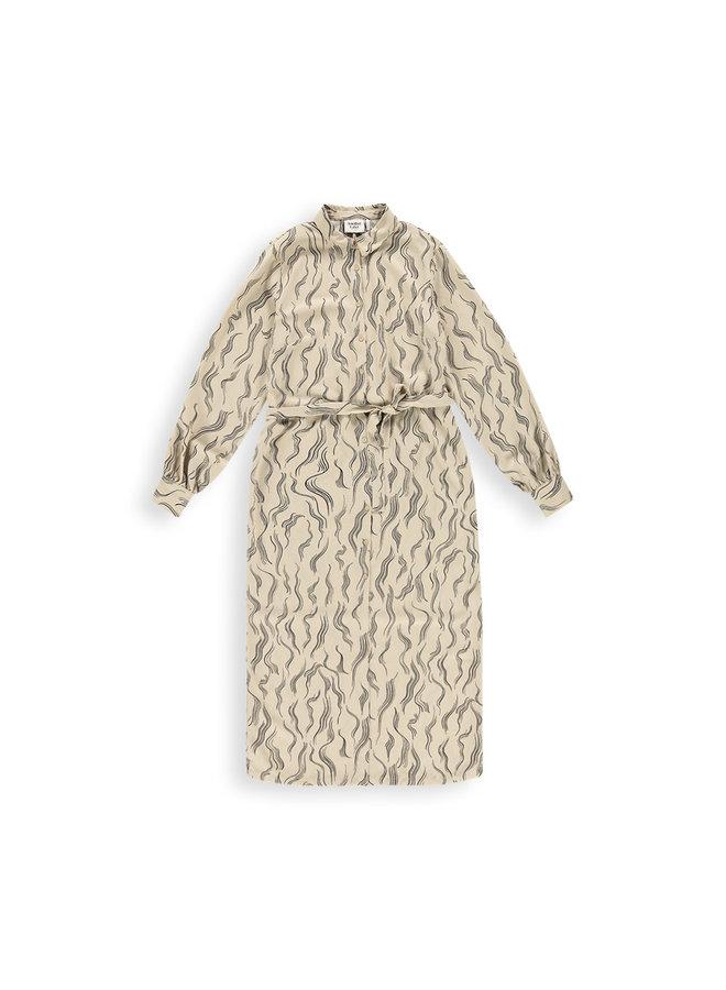 Chaniwa dress l/s | beige garden grid