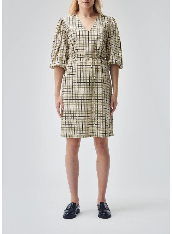 Hollow print dress | celery check