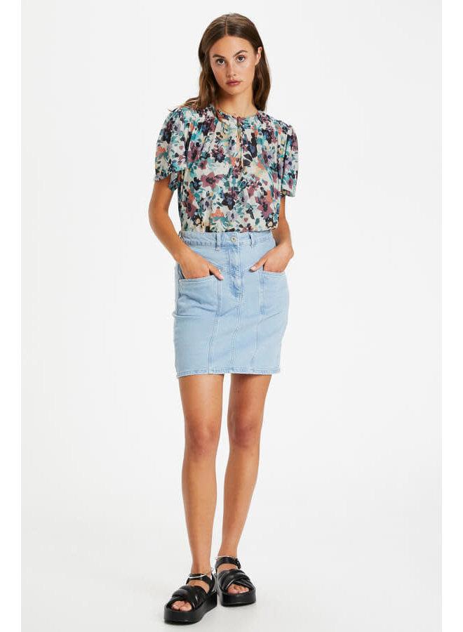 SLMully Top SS | vivid floral print white