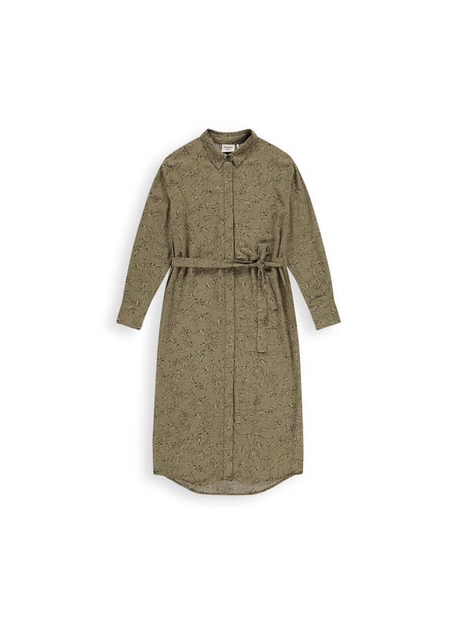 Bunjin Rock Dot dress l/s | green rock dot
