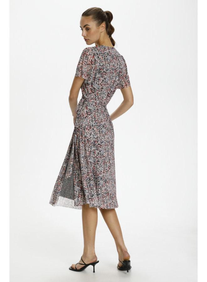 SLLourdes Wrap Dress | tapestry print scarlet sage