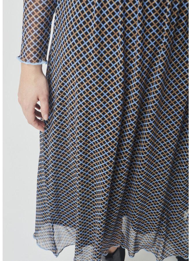 Fairy Print Dress | blue camel check