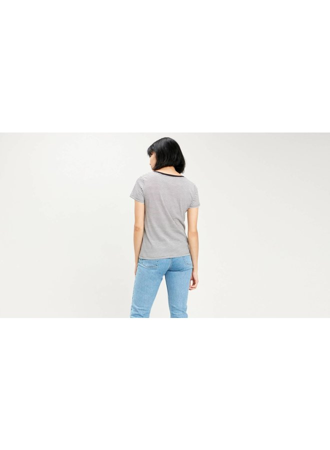 Perfect Vneck Annalise Stripe  | stripe cloud dancer