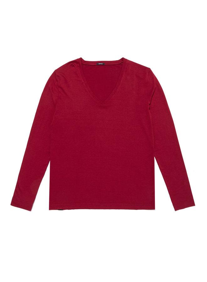 LOUISA V-NECK BJ   rhubarb red
