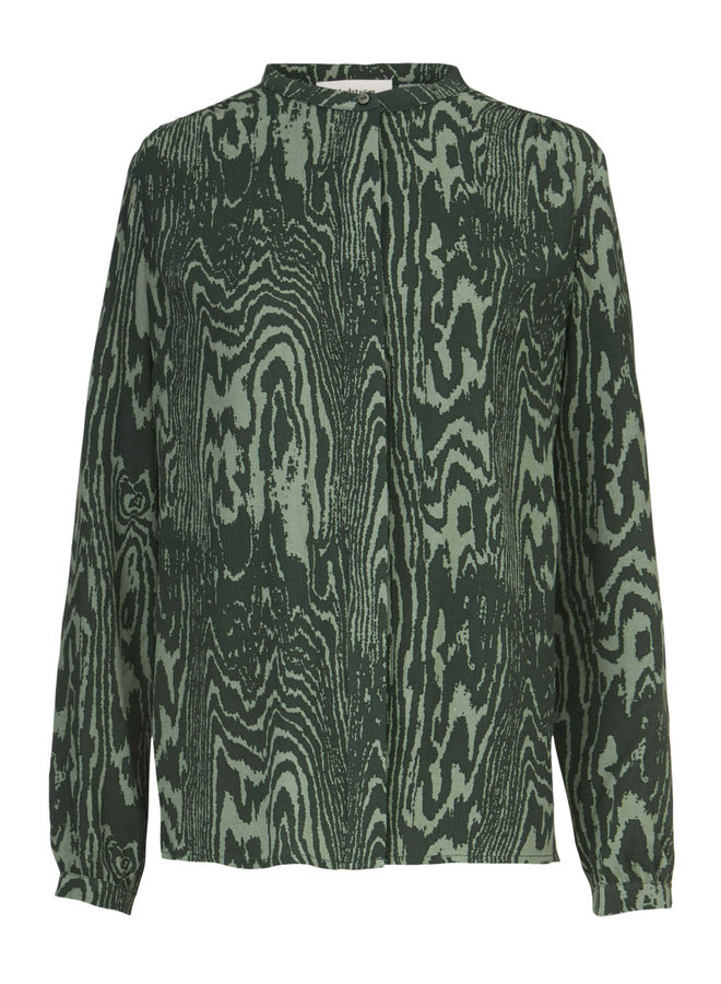 Mae print shirt   sea green wood
