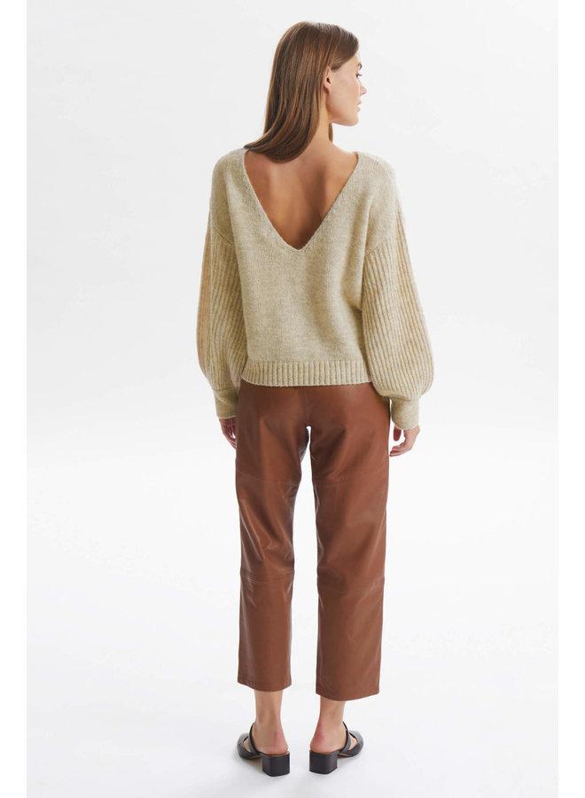 LNBaya V-neck Knit Pullover | oat melange
