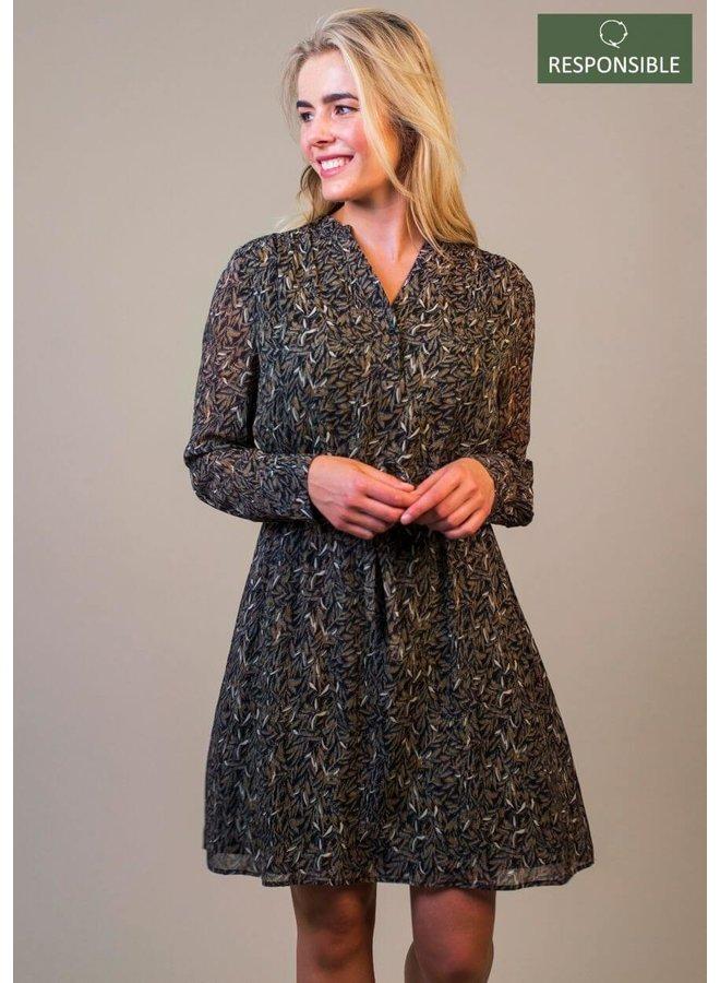 JAILEY DRESS | delicate leaves prin