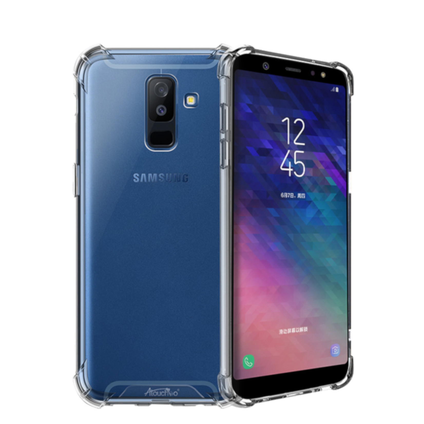 Atouchbo Backcover Anti-Shock TPU + PC voor Samsung A6 Plus 2018 Transparant