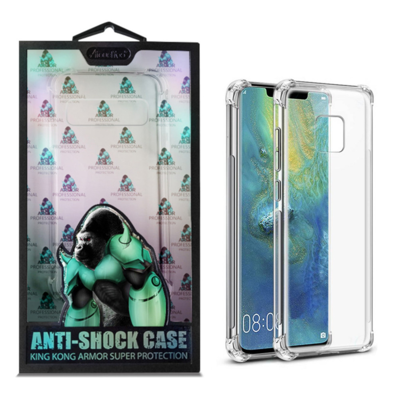 Atouchbo Backcover Anti-Shock TPU + PC voor Huawei Mate 20 Pro Transparant