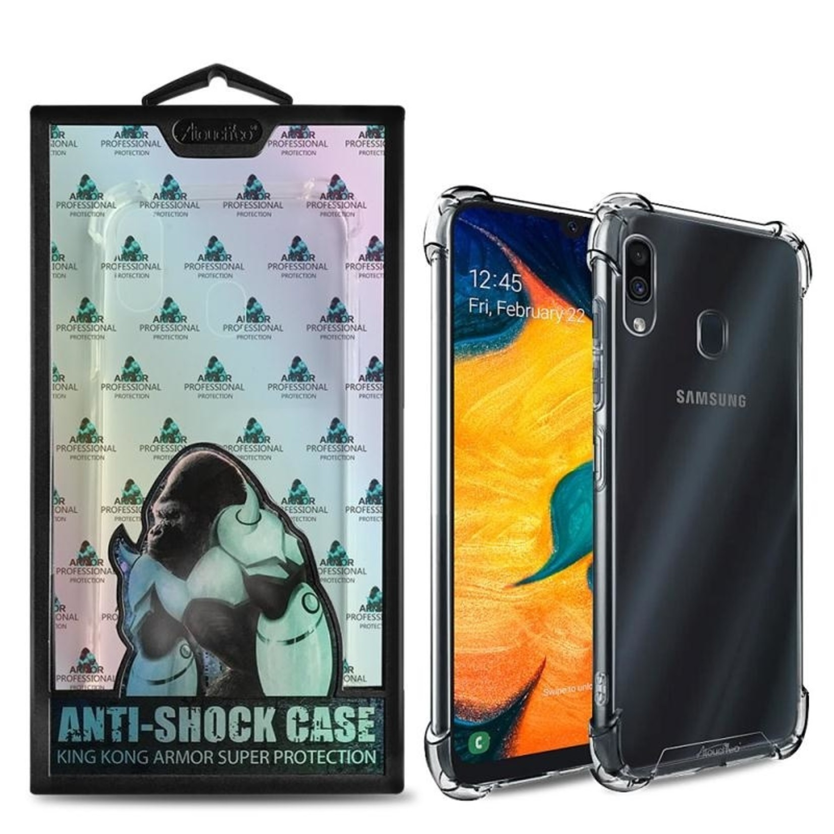 Atouchbo Backcover Anti-Shock TPU + PC voor Samsung A20/A30 Transparant
