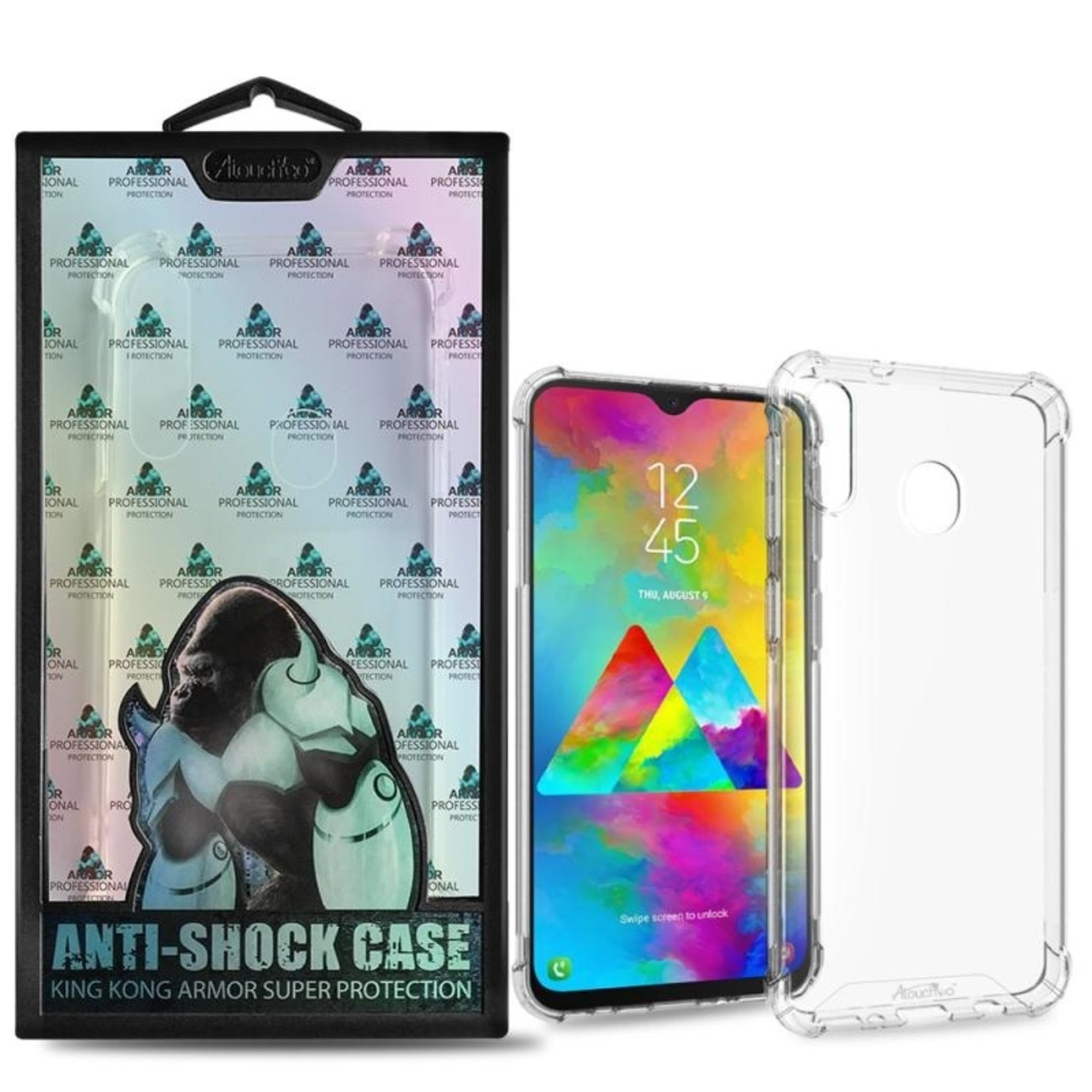 Atouchbo Backcover Anti-Shock TPU + PC voor Samsung M20 Transparant