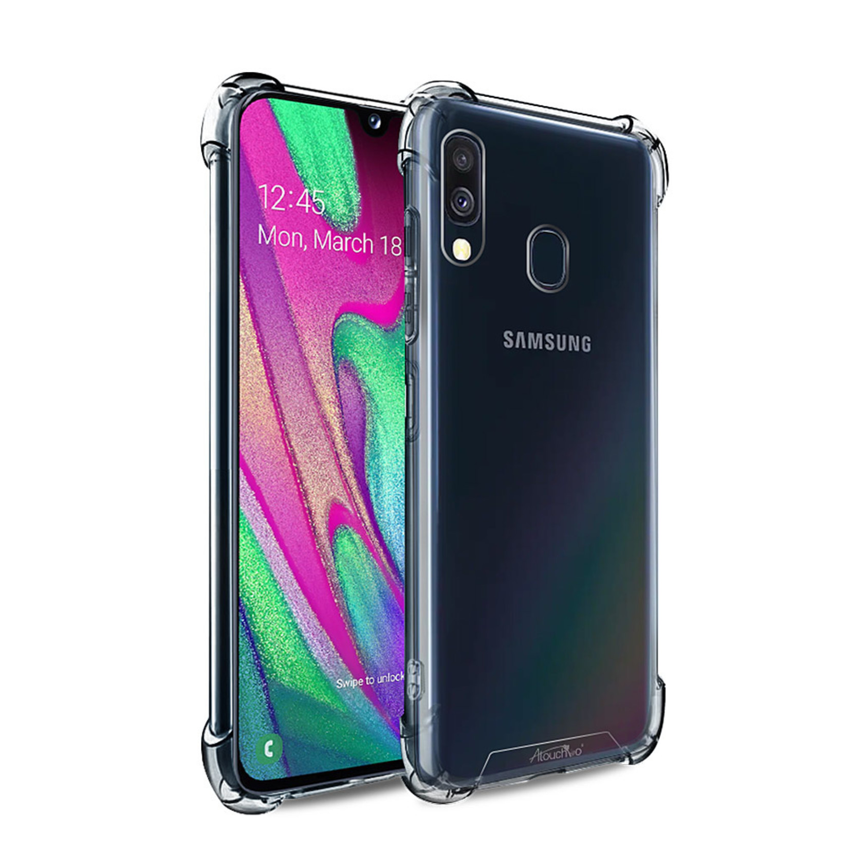 Atouchbo Backcover Anti-Shock TPU + PC voor Samsung M30 Transparant
