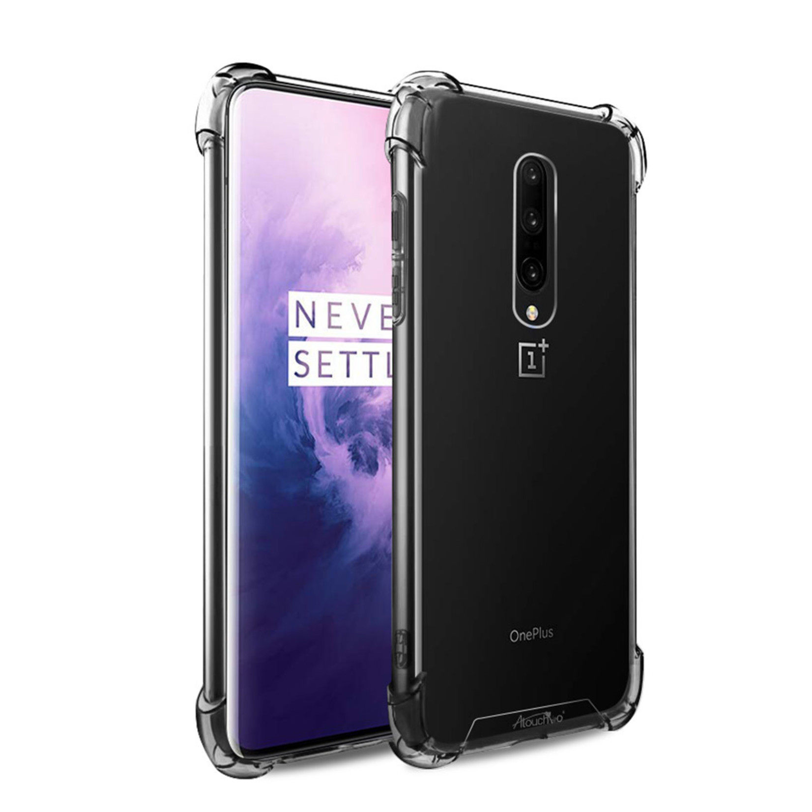 Atouchbo Backcover Anti-Shock TPU + PC voor OnePlus 7 Pro Transparant