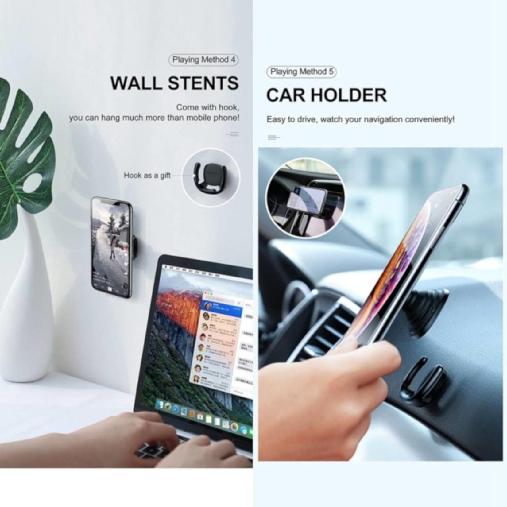 Baseus Telefoon Air Grip Socket + Houder Wit