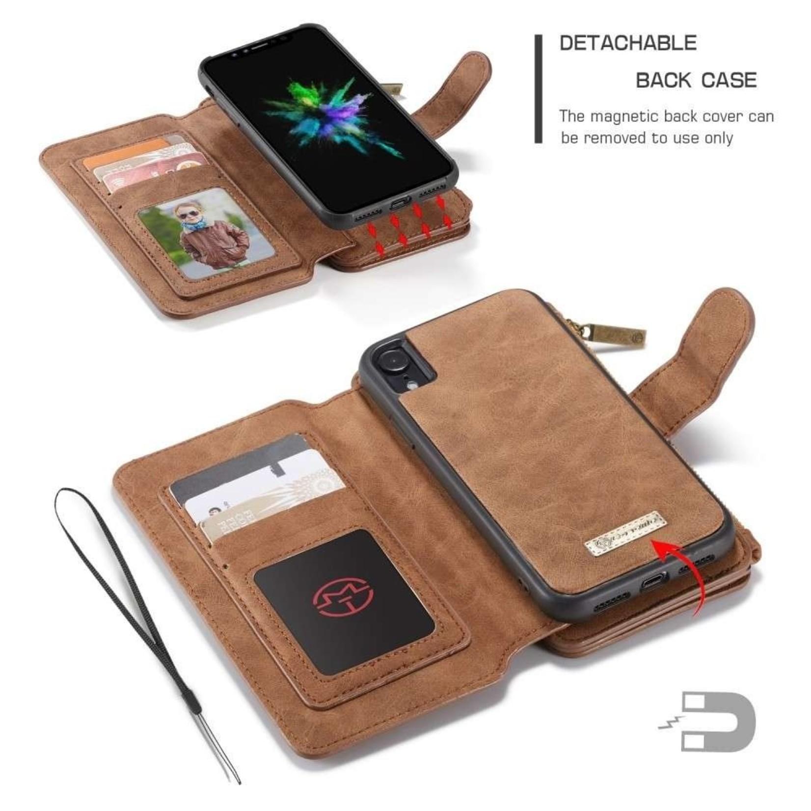 CaseMe 2 in 1 Zipper Wallet voor iPhone 11 Bruin