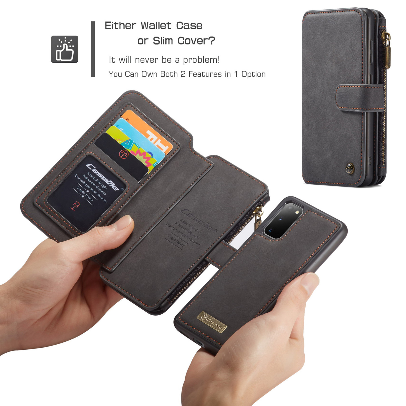 CaseMe 2 in 1 Zipper Wallet voor Samsung S20 Zwart