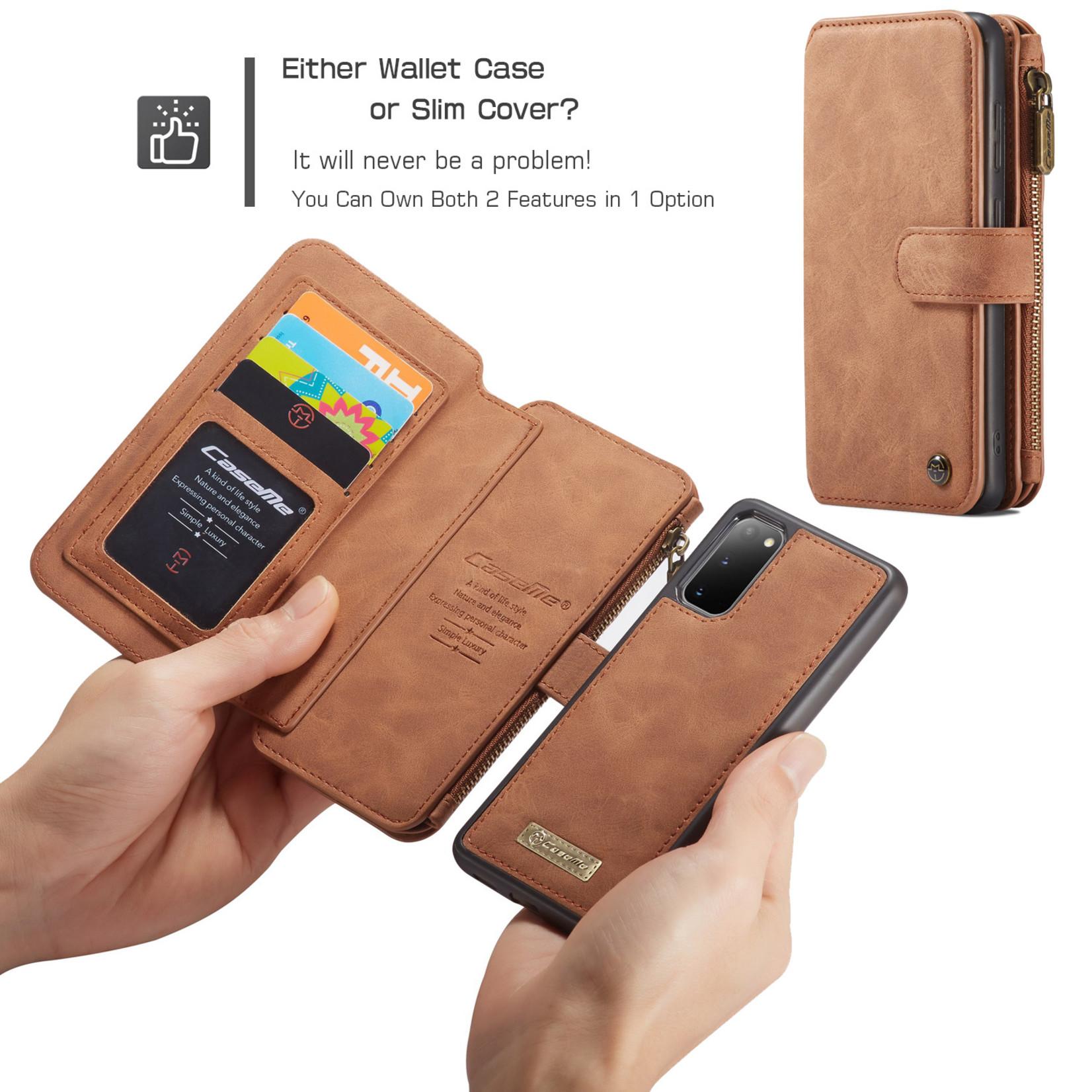 CaseMe 2 in 1 Zipper Wallet voor Samsung S20 Bruin